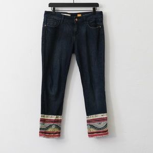 ANTHROPOLOGIE CROPPED PATCHWORK JEANS